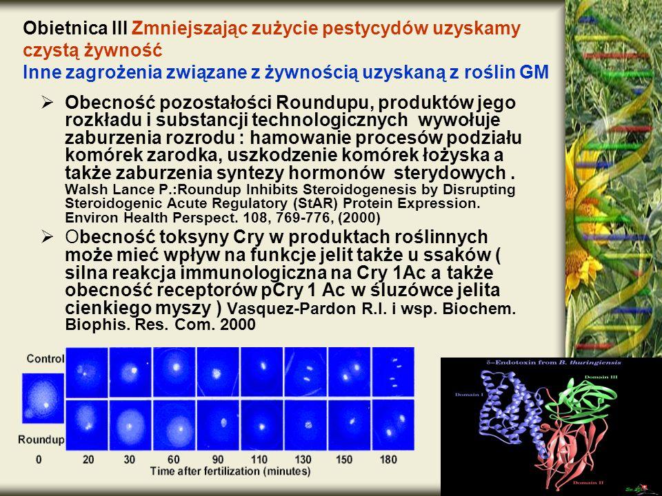 Obecność pozostałości Roundupu, produktów jego rozkładu i substancji technologicznych wywołuje zaburzenia rozrodu : hamowanie procesów podziału komóre