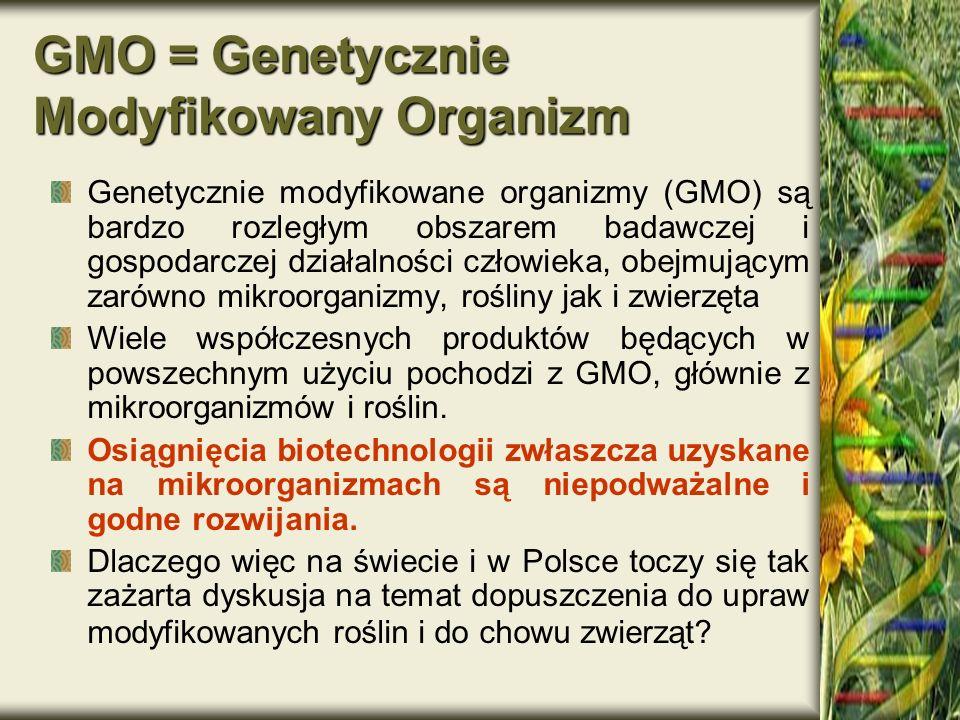 GMO = Genetycznie Modyfikowany Organizm Genetycznie modyfikowane organizmy (GMO) są bardzo rozległym obszarem badawczej i gospodarczej działalności cz