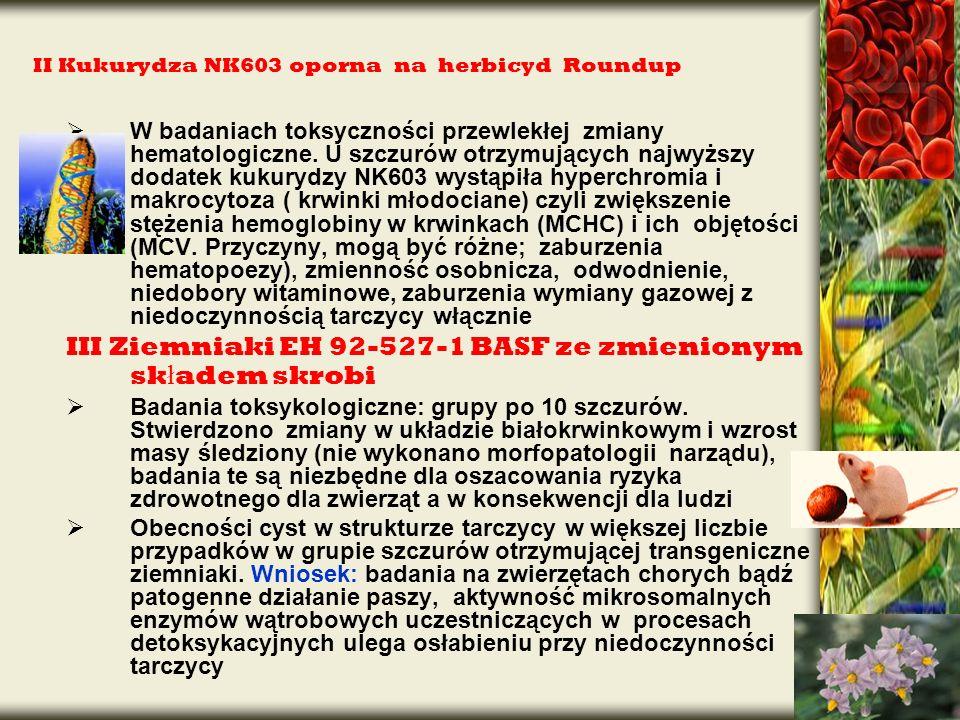 II Kukurydza NK603 oporna na herbicyd Roundup W badaniach toksyczności przewlekłej zmiany hematologiczne. U szczurów otrzymujących najwyższy dodatek k