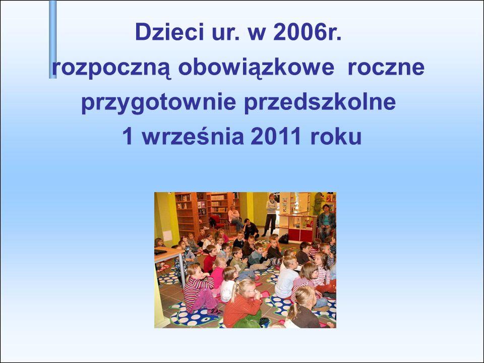 Dzieci ur. w 2006r. rozpoczną obowiązkowe roczne przygotownie przedszkolne 1 września 2011 roku