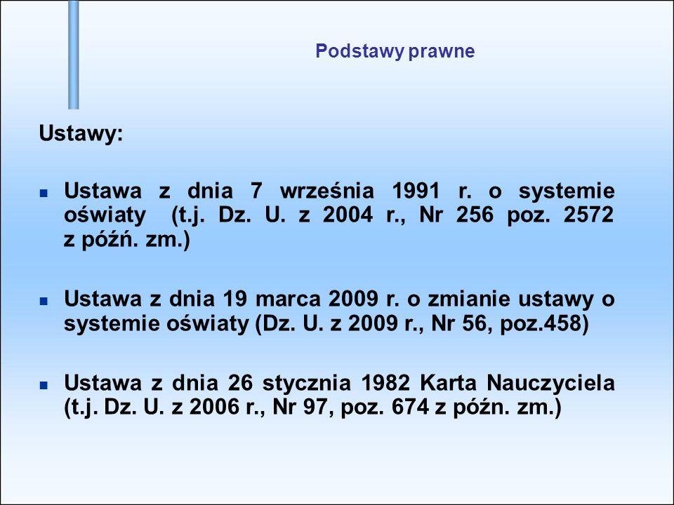 Podstawy prawne Ustawy: Ustawa z dnia 7 września 1991 r. o systemie oświaty (t.j. Dz. U. z 2004 r., Nr 256 poz. 2572 z późń. zm.) Ustawa z dnia 19 mar