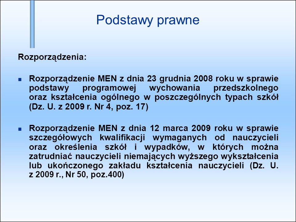 Podstawy prawne Rozporządzenia: Rozporządzenie MEN z dnia 23 grudnia 2008 roku w sprawie podstawy programowej wychowania przedszkolnego oraz kształcenia ogólnego w poszczególnych typach szkół (Dz.