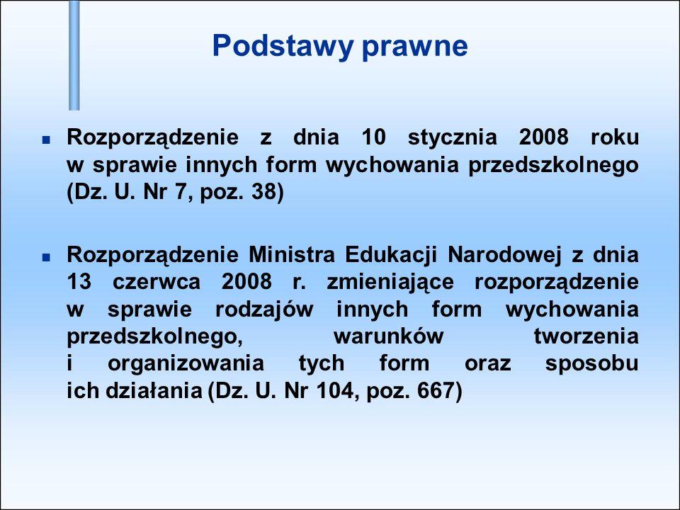 Podstawy prawne Rozporządzenie z dnia 10 stycznia 2008 roku w sprawie innych form wychowania przedszkolnego (Dz.
