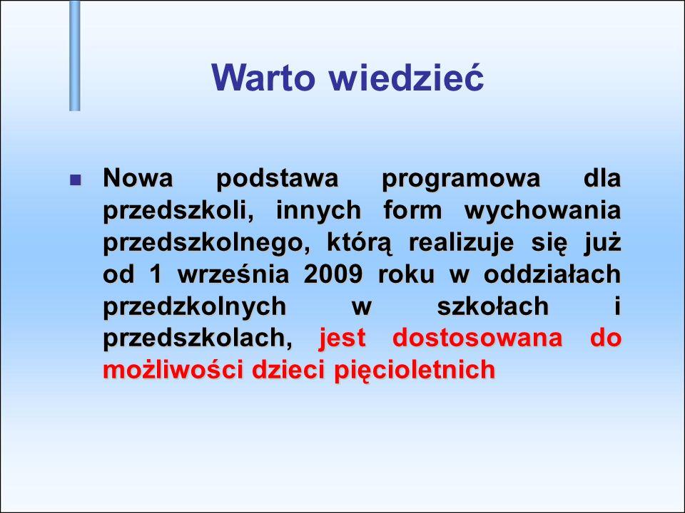 Nowa podstawa programowa dla przedszkoli, innych form wychowania przedszkolnego, którą realizuje się już od 1 września 2009 roku w oddziałach przedzko