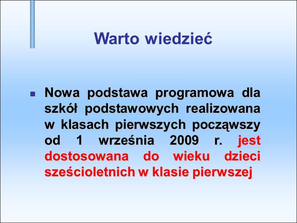Warto wiedzieć Nowa podstawa programowa dla szkół podstawowych realizowana w klasach pierwszych począwszy od 1 września 2009 r. jest dostosowana do wi