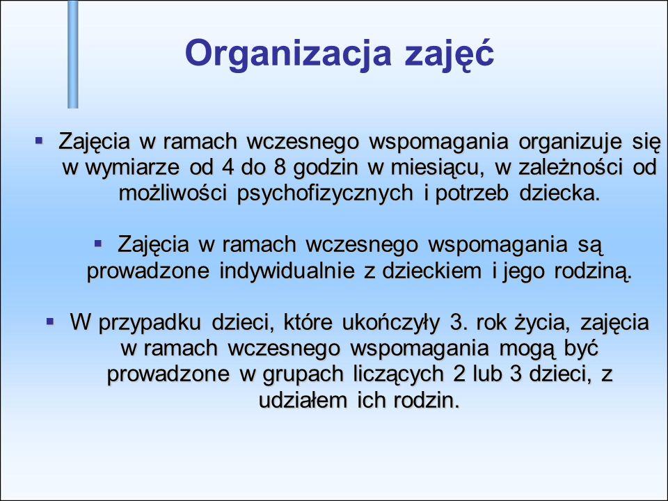 Organizacja zajęć Zajęcia w ramach wczesnego wspomagania organizuje się w wymiarze od 4 do 8 godzin w miesiącu, w zależności od możliwości psychofizyc