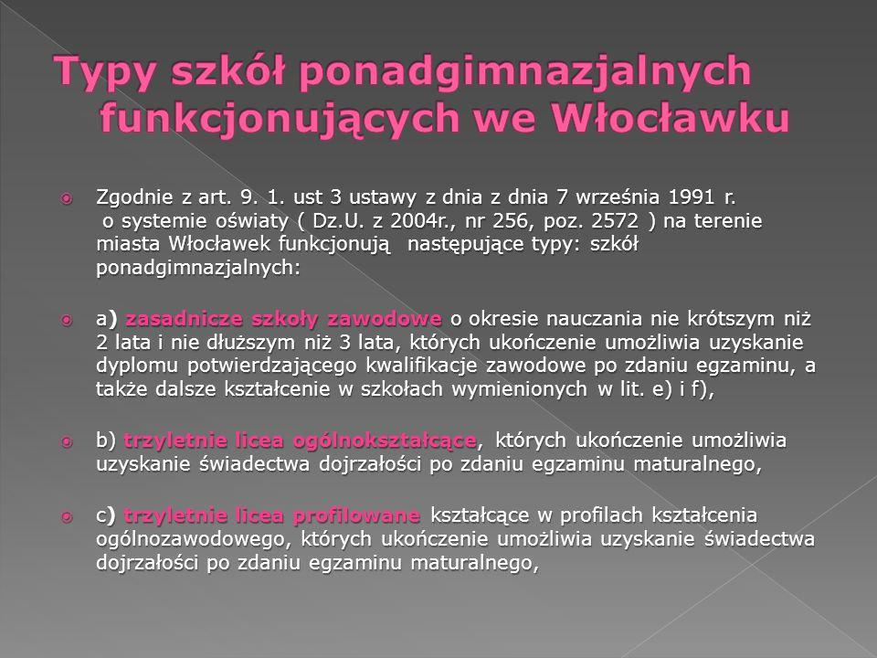 Zgodnie z art. 9. 1. ust 3 ustawy z dnia z dnia 7 września 1991 r. o systemie oświaty ( Dz.U. z 2004r., nr 256, poz. 2572 ) na terenie miasta Włocławe