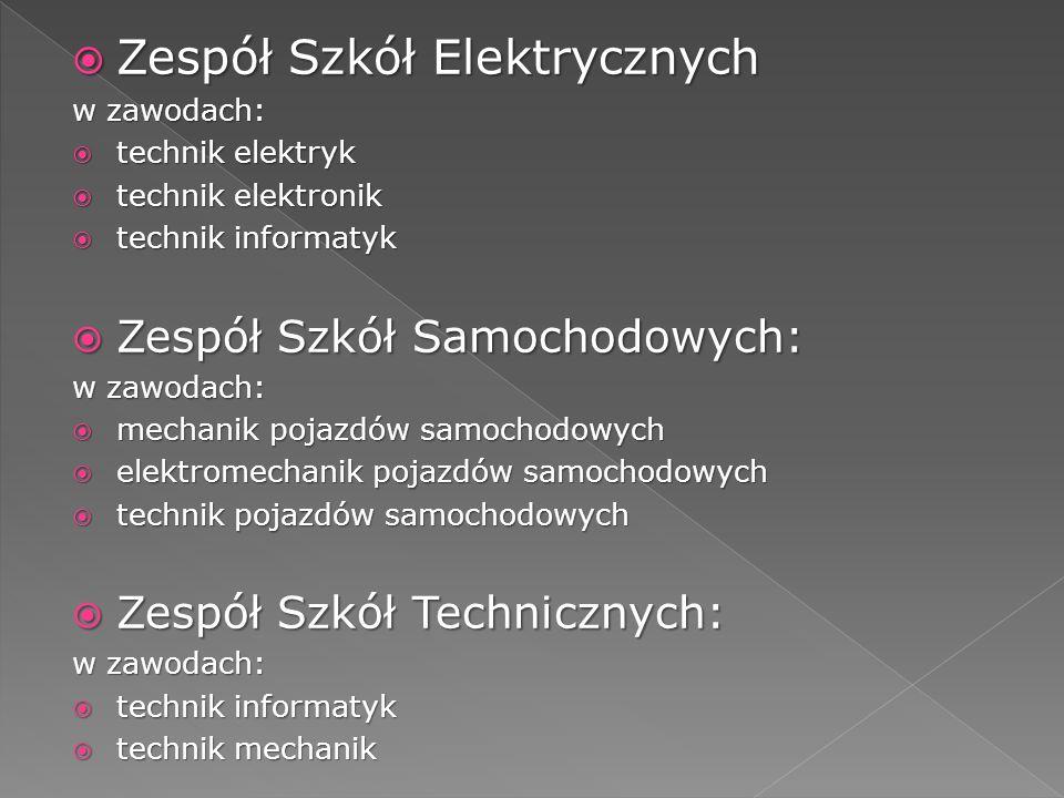 Zespół Szkół Elektrycznych Zespół Szkół Elektrycznych w zawodach: technik elektryk technik elektryk technik elektronik technik elektronik technik info