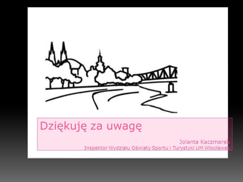 Dziękuję za uwagę Jolanta Kaczmarek Inspektor Wydziału Oświaty Sportu i Turystyki UM Włocławek
