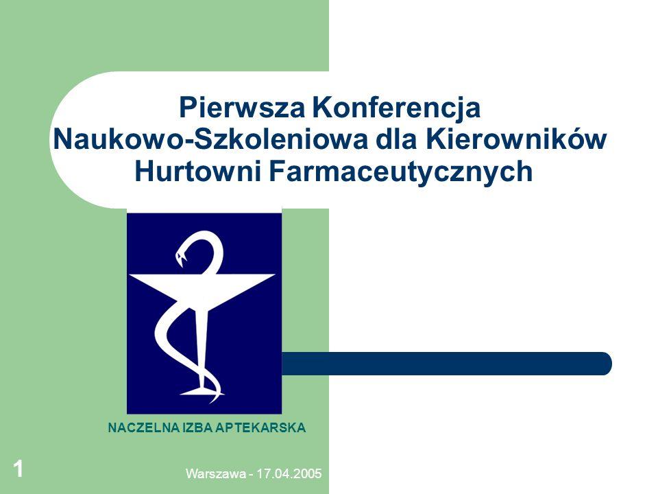 Warszawa - 17.04.2005 1 Pierwsza Konferencja Naukowo-Szkoleniowa dla Kierowników Hurtowni Farmaceutycznych NACZELNA IZBA APTEKARSKA