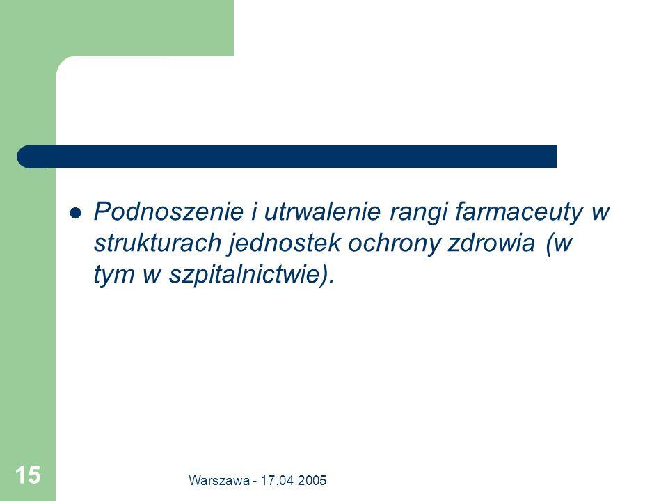 Warszawa - 17.04.2005 15 Podnoszenie i utrwalenie rangi farmaceuty w strukturach jednostek ochrony zdrowia (w tym w szpitalnictwie).