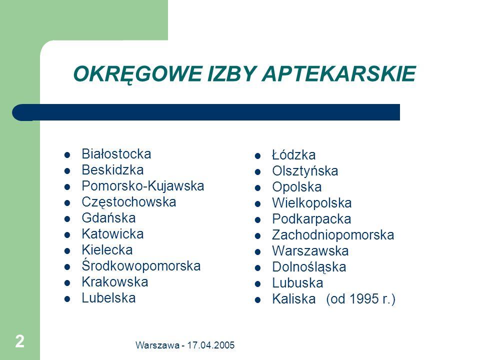 Warszawa - 17.04.2005 2 OKRĘGOWE IZBY APTEKARSKIE Białostocka Beskidzka Pomorsko-Kujawska Częstochowska Gdańska Katowicka Kielecka Środkowopomorska Kr