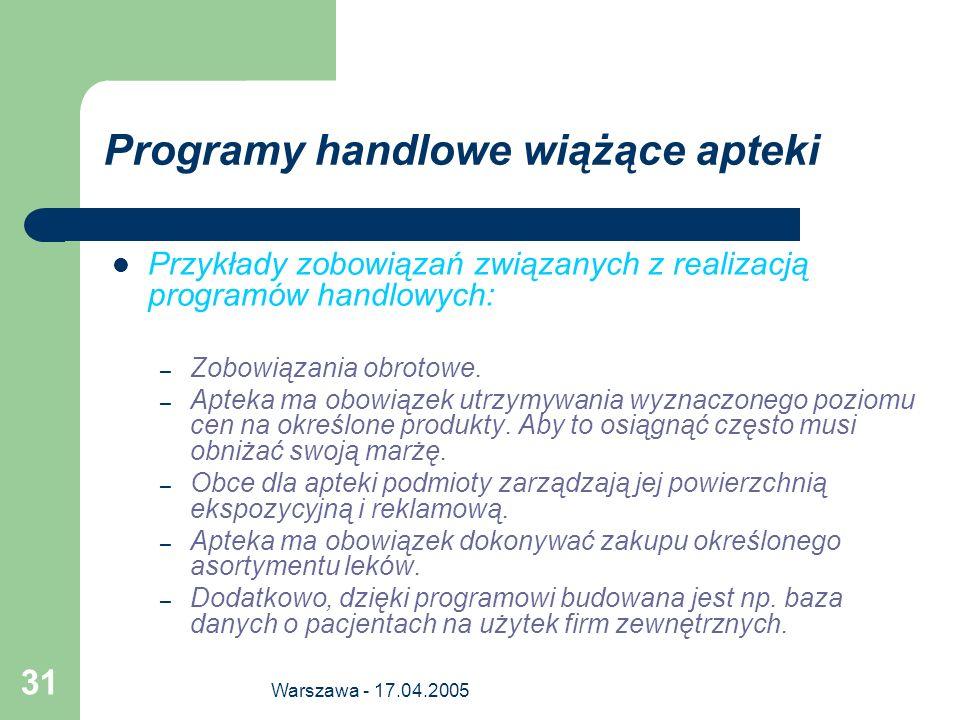 Warszawa - 17.04.2005 31 Programy handlowe wiążące apteki Przykłady zobowiązań związanych z realizacją programów handlowych: – Zobowiązania obrotowe.