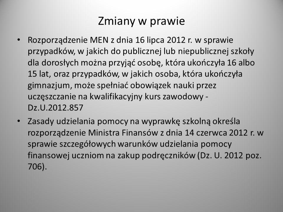 Zmiany w prawie Rozporządzenie MEN z dnia 16 lipca 2012 r.