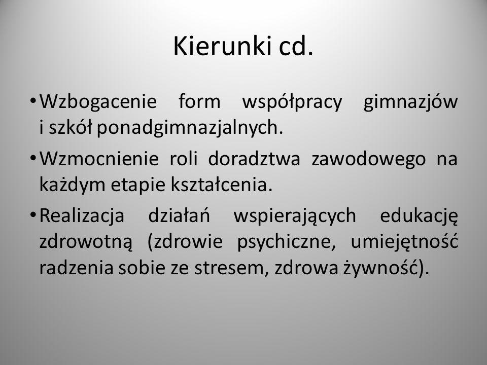 Kierunki cd. Wzbogacenie form współpracy gimnazjów i szkół ponadgimnazjalnych.