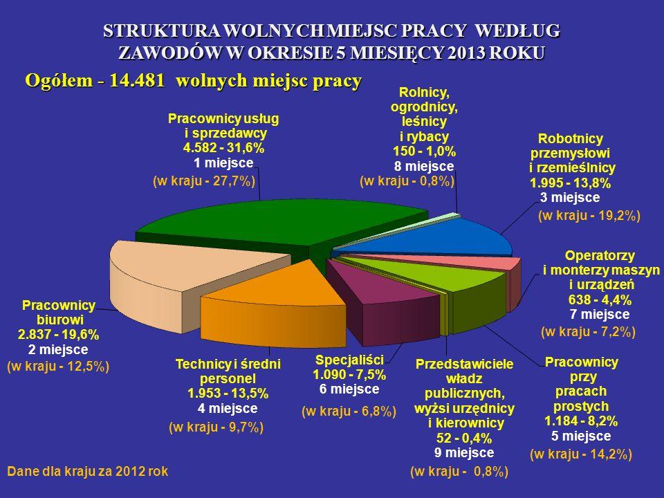 STRUKTURA WOLNYCH MIEJSC PRACY WEDŁUG ZAWODÓW W OKRESIE 5 MIESIĘCY 2013 ROKU