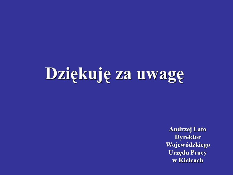 Andrzej Lato DyrektorWojewódzkiego Urzędu Pracy w Kielcach Dziękuję za uwagę
