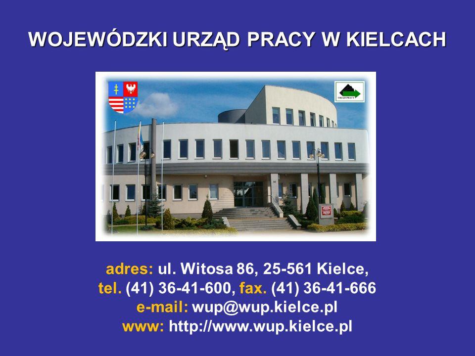WOJEWÓDZKI URZĄD PRACY W KIELCACH adres: ul. Witosa 86, 25-561 Kielce, tel. (41) 36-41-600, fax. (41) 36-41-666 e-mail: wup@wup.kielce.pl www: http://