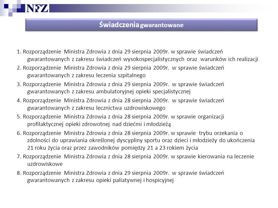 Świadczenia gwarantowane 1.Rozporządzenie Ministra Zdrowia z dnia 29 sierpnia 2009r.