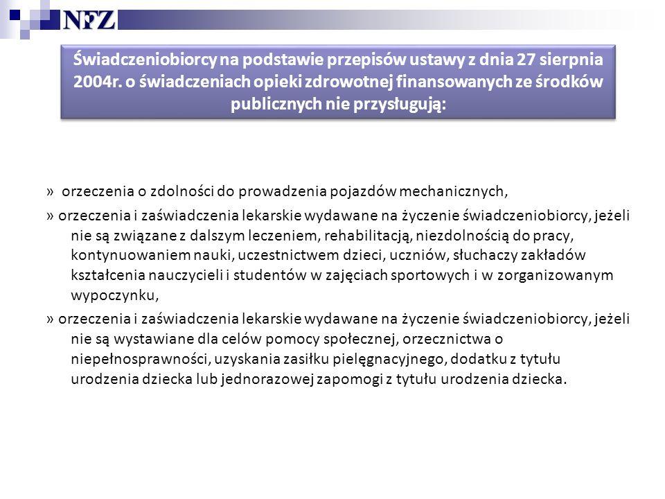 Świadczeniobiorcy na podstawie przepisów ustawy z dnia 27 sierpnia 2004r.