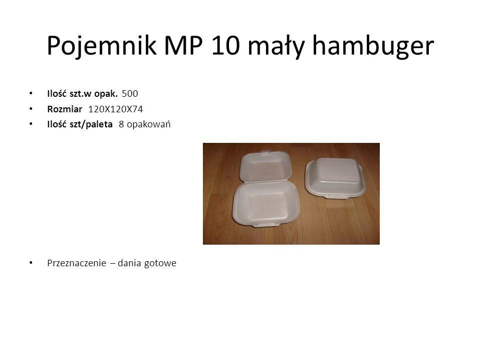 Pojemnik MP 10 mały hambuger Ilość szt.w opak. 500 Rozmiar 120X120X74 Ilość szt/paleta 8 opakowań Przeznaczenie – dania gotowe