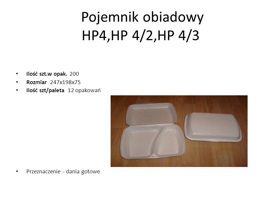 Pojemnik obiadowy HP4,HP 4/2,HP 4/3 Ilość szt.w opak. 200 Rozmiar 247x198x75 Ilość szt/paleta 12 opakowań Przeznaczenie - dania gotowe