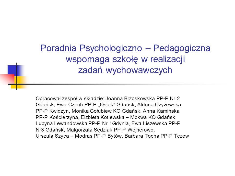 Podstawa prawna w oparciu, o którą poradnia psychologiczno – pedagogiczna wspiera wychowawczą funkcję szkoły: rozporządzenie MENiS z dnia 11 grudnia 2002 roku w sprawie szczegółowych zasad działania publicznych poradni psychologiczno – pedagogicznych, w tym poradni specjalistycznych (Dz.U.