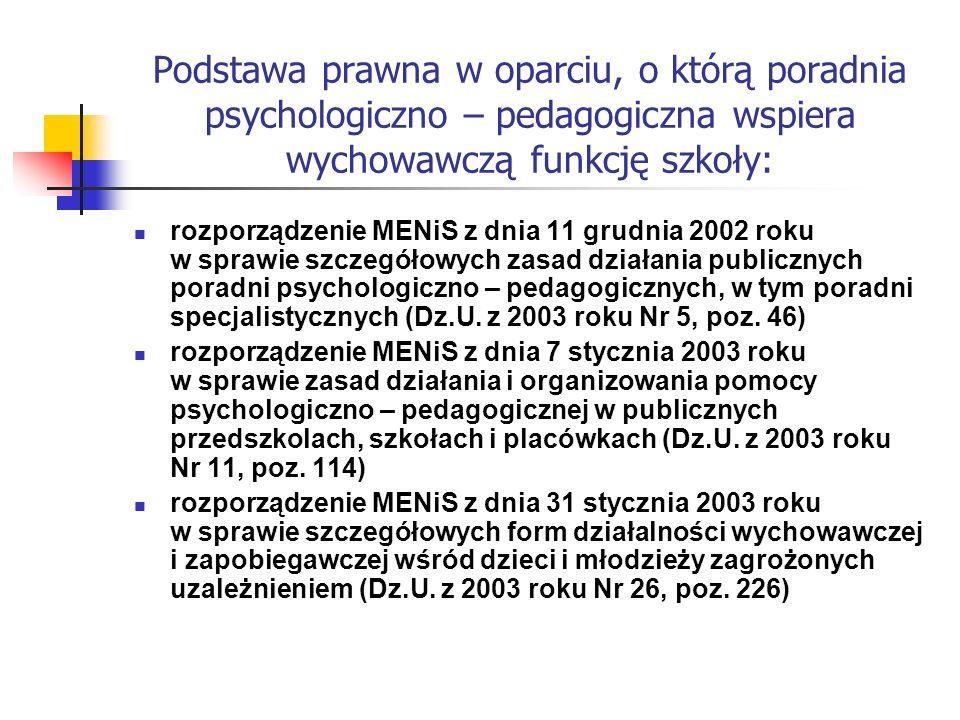 Podstawa prawna w oparciu, o którą poradnia psychologiczno – pedagogiczna wspiera wychowawczą funkcję szkoły: rozporządzenie MENiS z dnia 11 grudnia 2