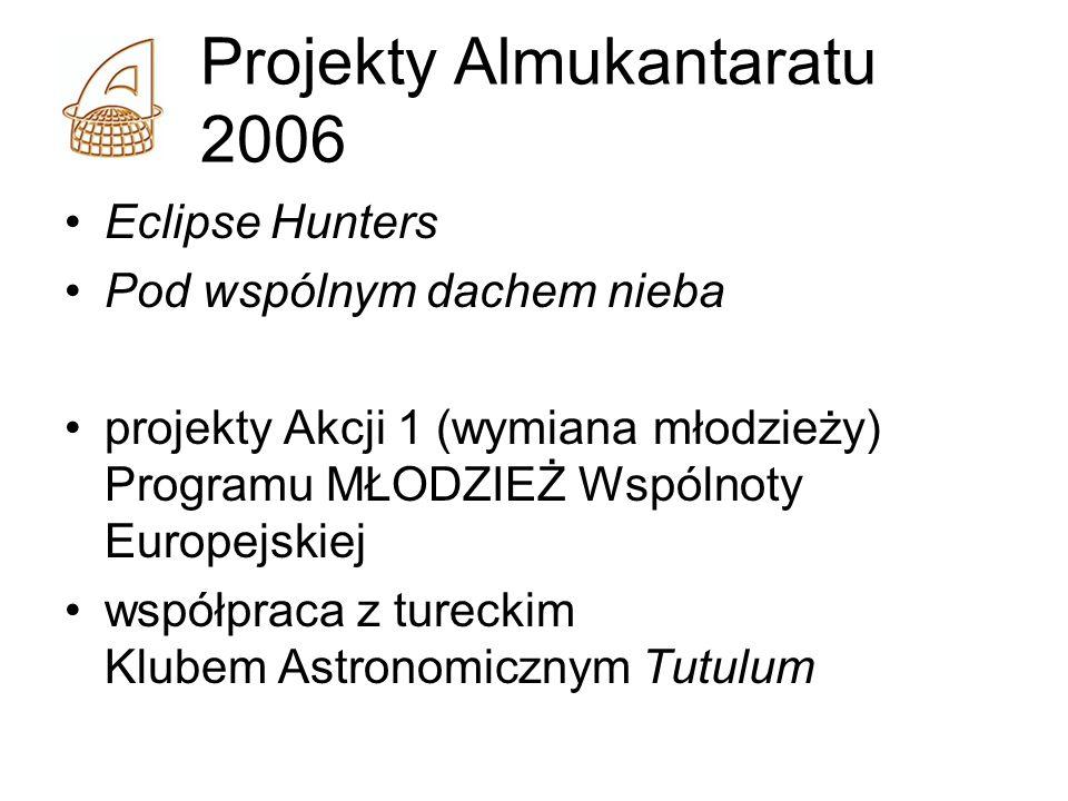 Projekty Almukantaratu 2006 Eclipse Hunters Pod wspólnym dachem nieba projekty Akcji 1 (wymiana młodzieży) Programu MŁODZIEŻ Wspólnoty Europejskiej współpraca z tureckim Klubem Astronomicznym Tutulum