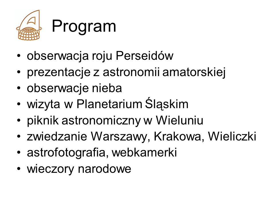 Program obserwacja roju Perseidów prezentacje z astronomii amatorskiej obserwacje nieba wizyta w Planetarium Śląskim piknik astronomiczny w Wieluniu zwiedzanie Warszawy, Krakowa, Wieliczki astrofotografia, webkamerki wieczory narodowe