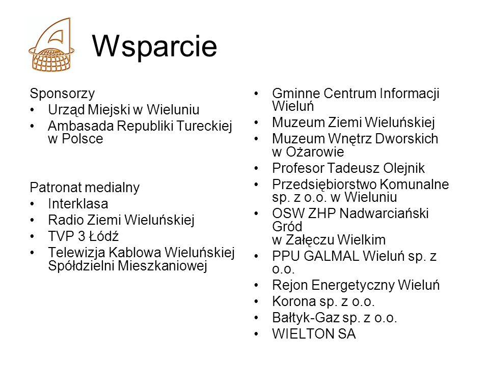 Wsparcie Sponsorzy Urząd Miejski w Wieluniu Ambasada Republiki Tureckiej w Polsce Patronat medialny Interklasa Radio Ziemi Wieluńskiej TVP 3 Łódź Tele