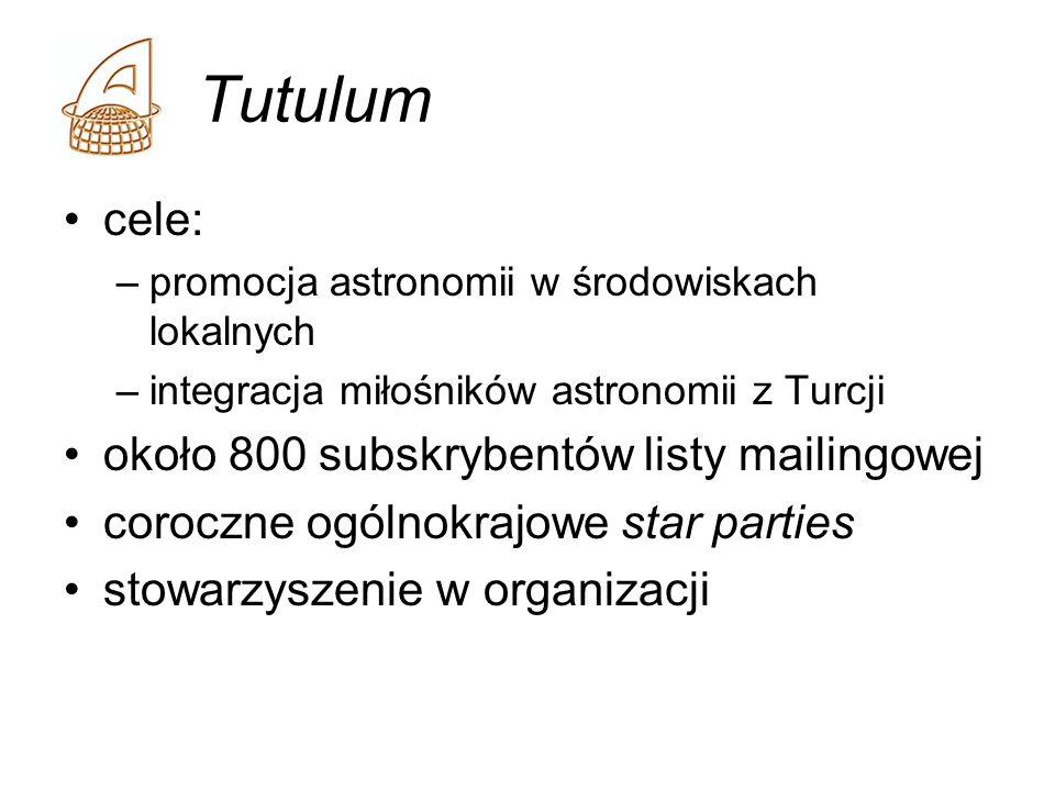 Tutulum cele: –promocja astronomii w środowiskach lokalnych –integracja miłośników astronomii z Turcji około 800 subskrybentów listy mailingowej coroc