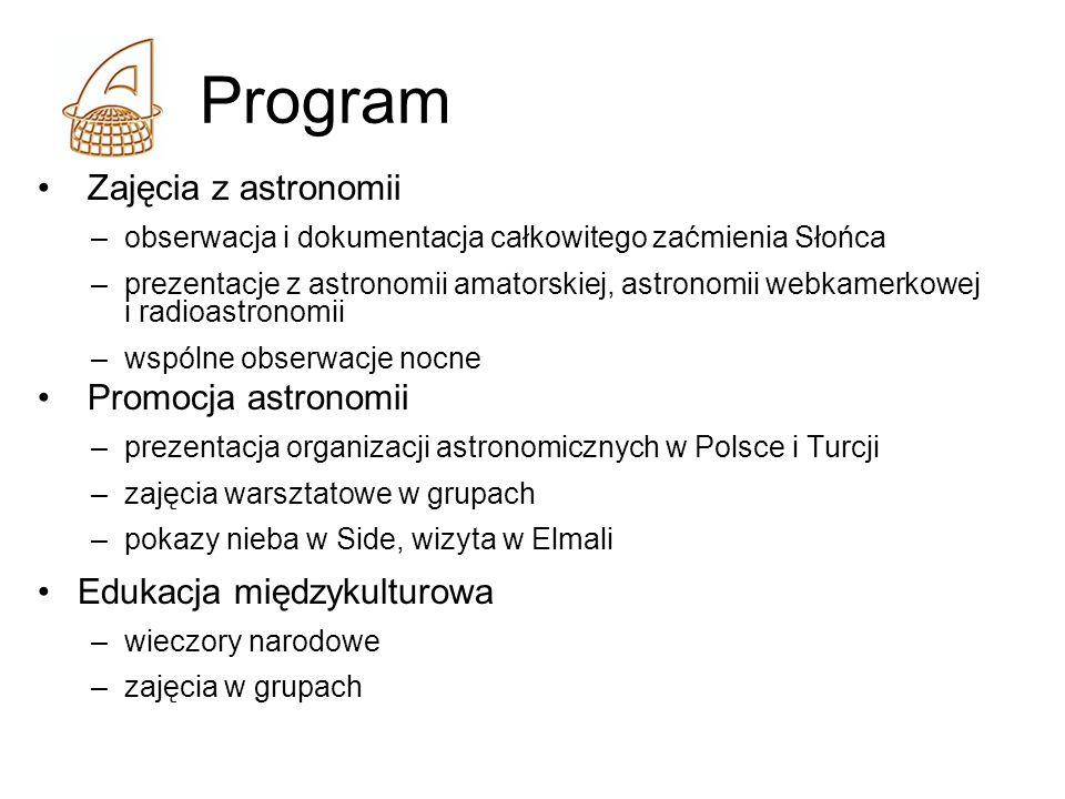 Program Zajęcia z astronomii –obserwacja i dokumentacja całkowitego zaćmienia Słońca –prezentacje z astronomii amatorskiej, astronomii webkamerkowej i