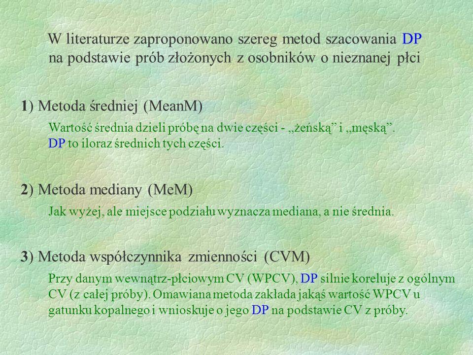 W literaturze zaproponowano szereg metod szacowania DP na podstawie prób złożonych z osobników o nieznanej płci 1) Metoda średniej (MeanM) 2) Metoda m