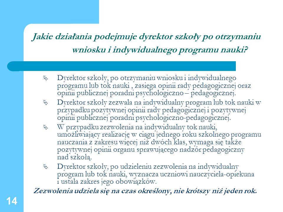14 Jakie działania podejmuje dyrektor szkoły po otrzymaniu wniosku i indywidualnego programu nauki? Dyrektor szkoły, po otrzymaniu wniosku i indywidua