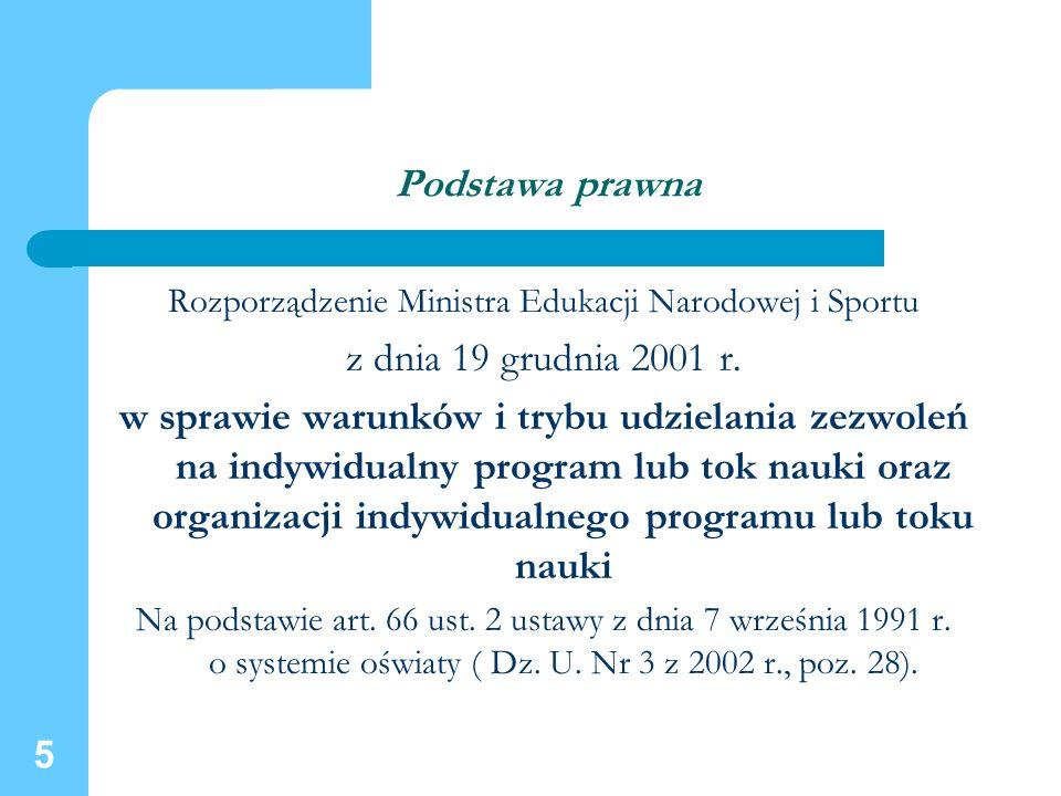 5 Podstawa prawna Rozporządzenie Ministra Edukacji Narodowej i Sportu z dnia 19 grudnia 2001 r. w sprawie warunków i trybu udzielania zezwoleń na indy