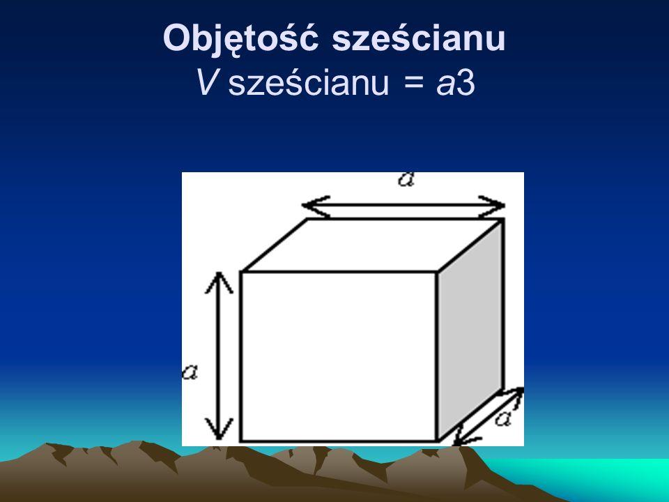 Objętość sześcianu V sześcianu = a3