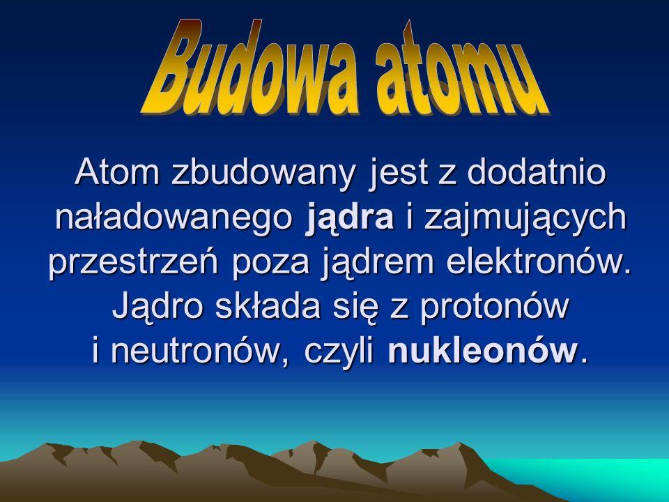 Atom zbudowany jest z dodatnio naładowanego jądra i zajmujących przestrzeń poza jądrem elektronów. Jądro składa się z protonów i neutronów, czyli nukl