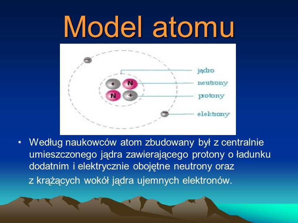 Model atomu Według naukowców atom zbudowany był z centralnie umieszczonego jądra zawierającego protony o ładunku dodatnim i elektrycznie obojętne neutrony oraz z krążących wokół jądra ujemnych elektronów.