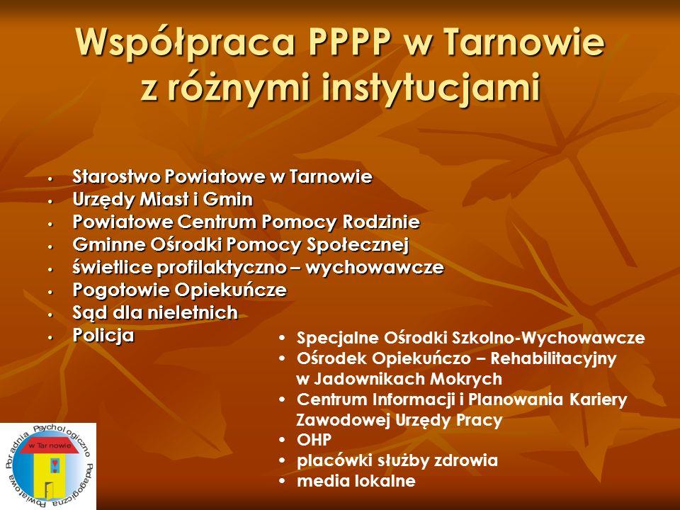 Współpraca PPPP w Tarnowie z różnymi instytucjami Starostwo Powiatowe w Tarnowie Starostwo Powiatowe w Tarnowie Urzędy Miast i Gmin Urzędy Miast i Gmi
