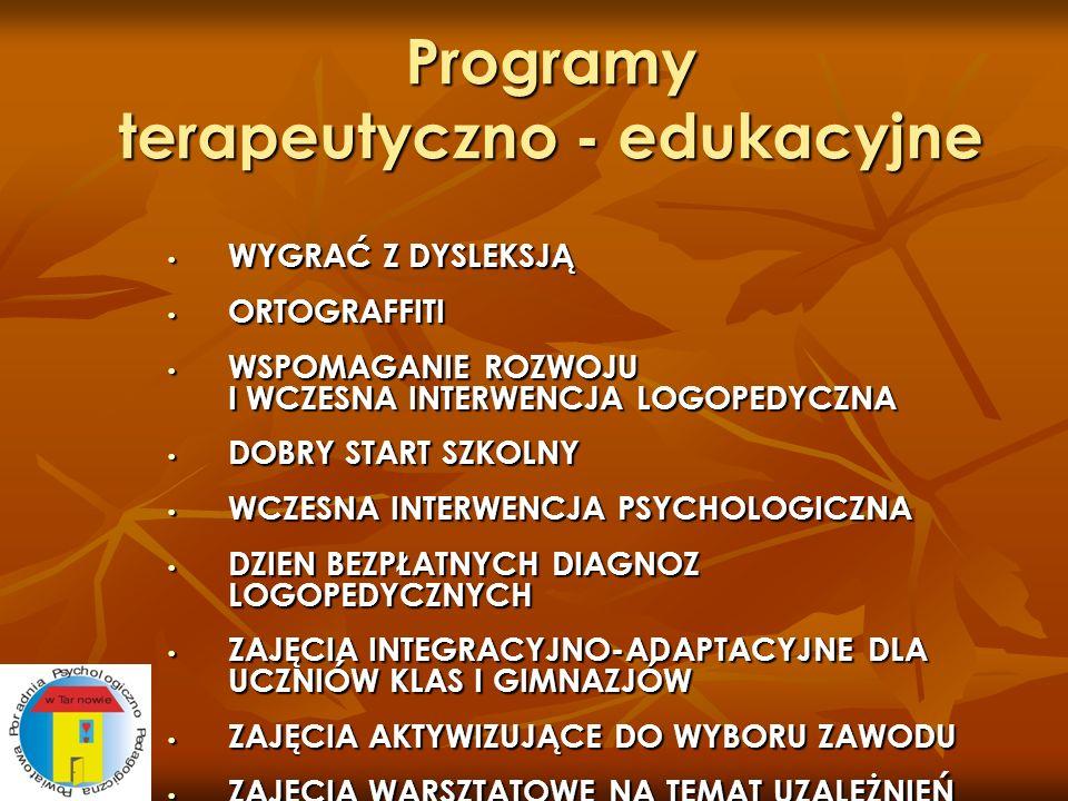 Programy terapeutyczno - edukacyjne WYGRAĆ Z DYSLEKSJĄ WYGRAĆ Z DYSLEKSJĄ ORTOGRAFFITI ORTOGRAFFITI WSPOMAGANIE ROZWOJU I WCZESNA INTERWENCJA LOGOPEDY