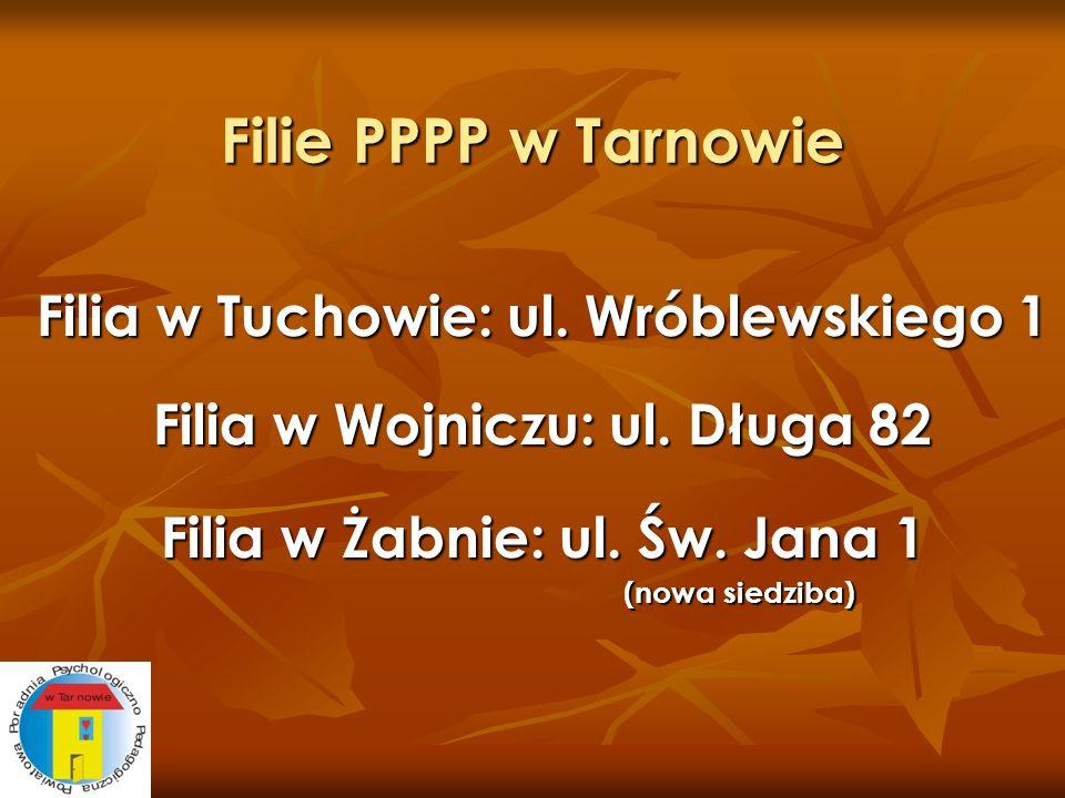 Filie PPPP w Tarnowie Filia w Tuchowie: ul. Wróblewskiego 1 Filia w Wojniczu: ul. Długa 82 Filia w Żabnie: ul. Św. Jana 1 (nowa siedziba) (nowa siedzi