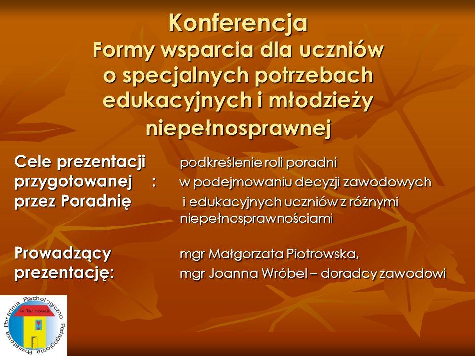 Konferencja Formy wsparcia dla uczniów o specjalnych potrzebach edukacyjnych i młodzieży niepełnosprawnej Cele prezentacji podkreślenie roli poradni p