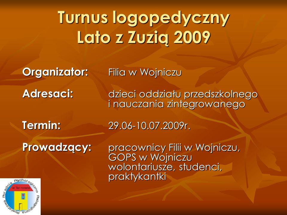 Turnus logopedyczny Lato z Zuzią 2009 Organizator : Filia w Wojniczu Adresaci : dzieci oddziału przedszkolnego i nauczania zintegrowanego Termin : 29.