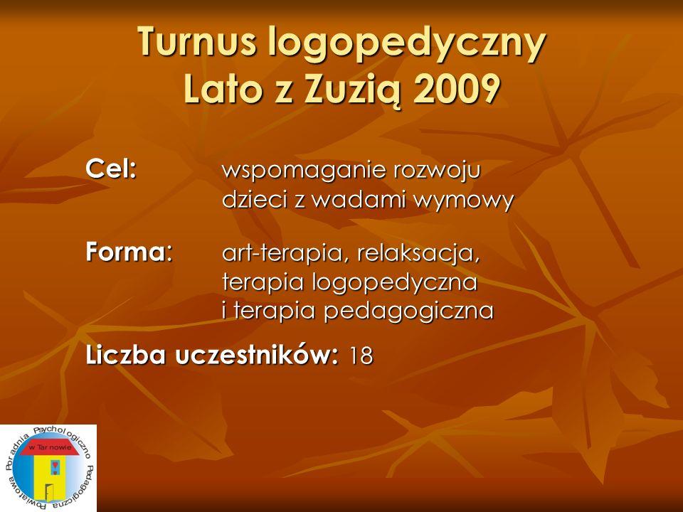 Turnus logopedyczny Lato z Zuzią 2009 Cel : wspomaganie rozwoju dzieci z wadami wymowy Forma : art-terapia, relaksacja, terapia logopedyczna i terapia