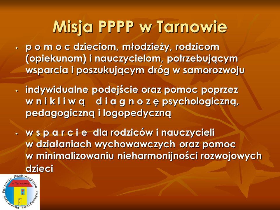 Misja PPPP w Tarnowie p o m o c dzieciom, młodzieży, rodzicom (opiekunom) i nauczycielom, potrzebującym wsparcia i poszukującym dróg w samorozwoju p o