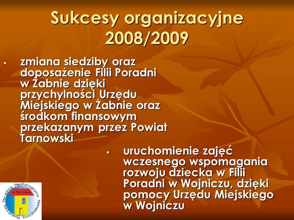 Sukcesy organizacyjne 2008/2009 zmiana siedziby oraz doposażenie Filii Poradni w Żabnie dzięki przychylności Urzędu Miejskiego w Żabnie oraz środkom f