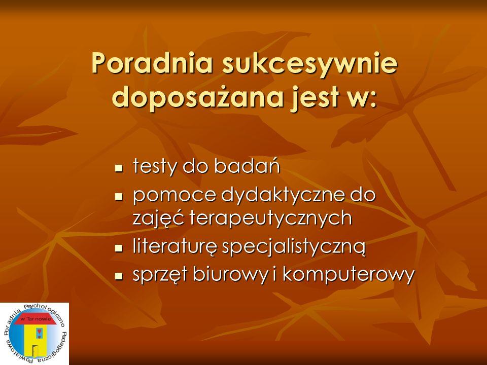 Poradnia sukcesywnie doposażana jest w: testy do badań testy do badań pomoce dydaktyczne do zajęć terapeutycznych pomoce dydaktyczne do zajęć terapeut