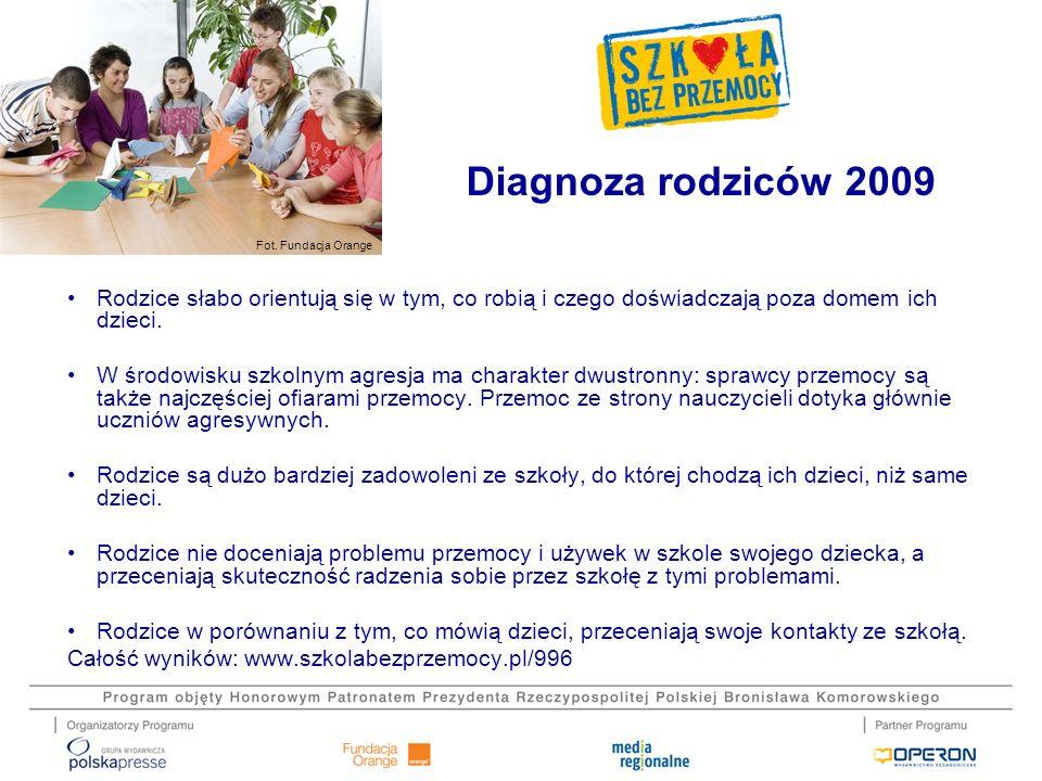 Fot. Fundacja Orange Diagnoza rodziców 2009 Rodzice słabo orientują się w tym, co robią i czego doświadczają poza domem ich dzieci. W środowisku szkol