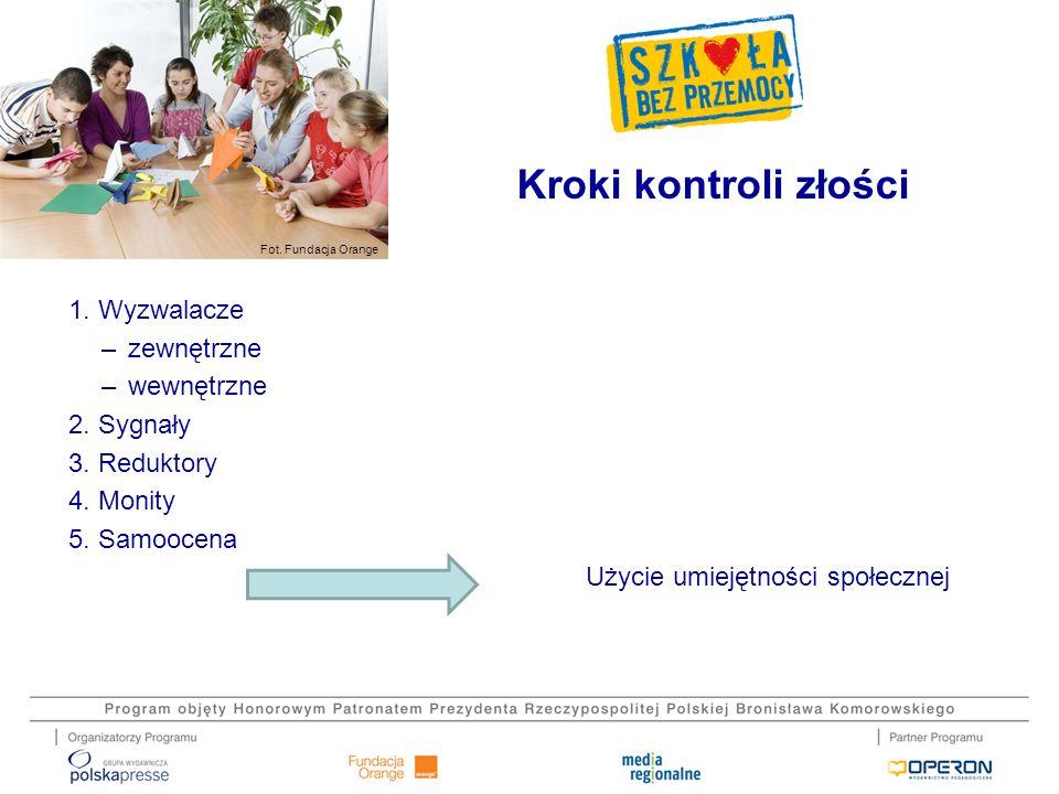 Fot. Fundacja Orange 1. Wyzwalacze –zewnętrzne –wewnętrzne 2. Sygnały 3. Reduktory 4. Monity 5. Samoocena Użycie umiejętności społecznej Kroki kontrol